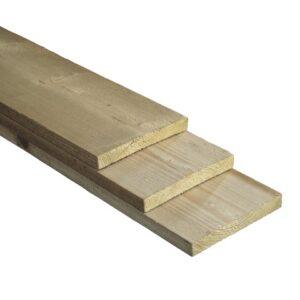 Plank groen geïmpregneerd fijnbezaagd 2 dik 20 breed 5meter