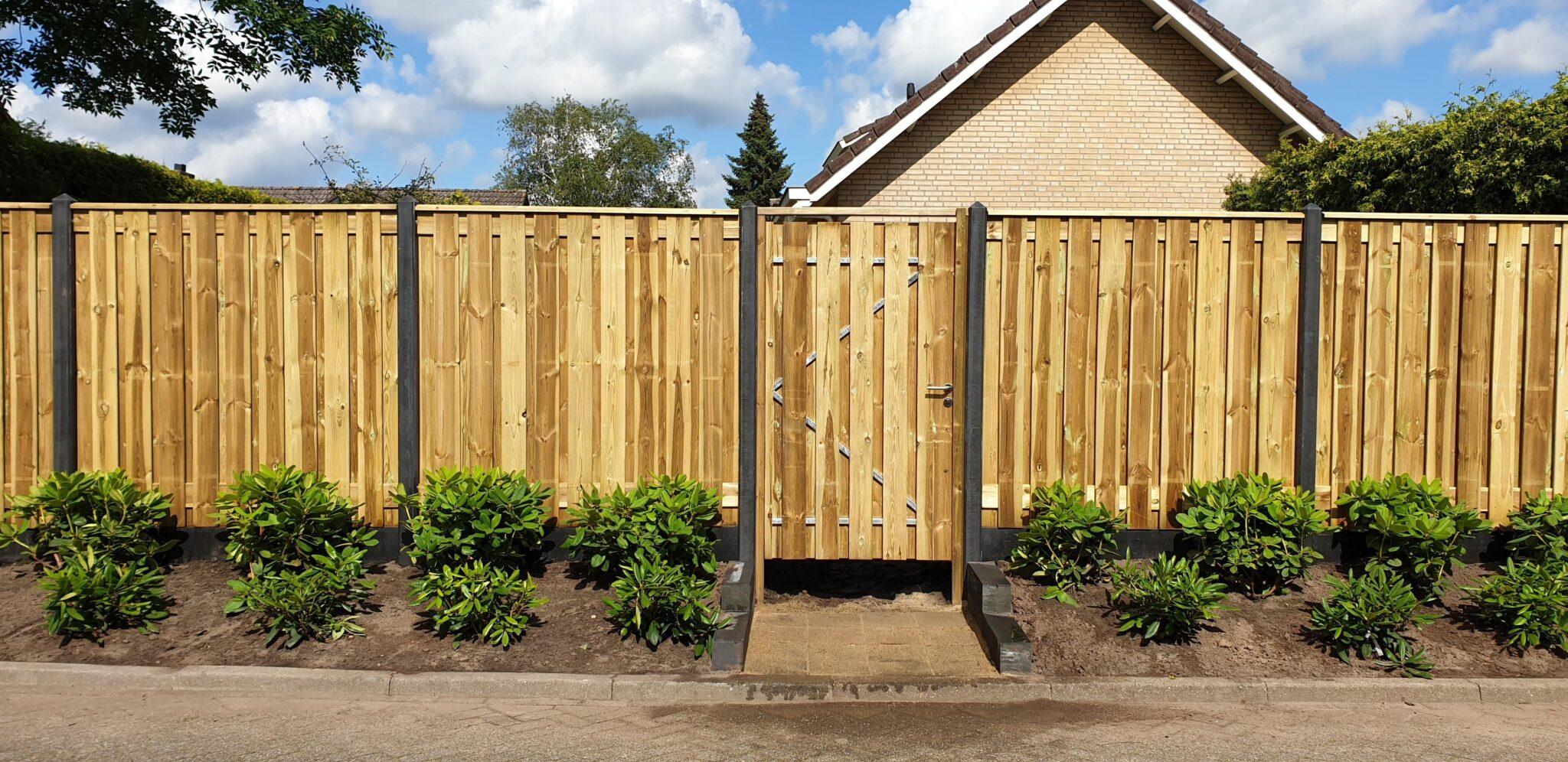 hout beton schutting antraciet groen geimpregneerd